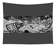 Kiss Me Hot Stuf In Black And White Tapestry