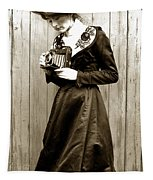 Kodak Girl With A Folding Camera Circa 1918 Tapestry
