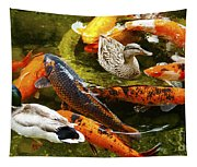 Koi Fish In Pond Swimming With Two Mallard Ducks Tapestry