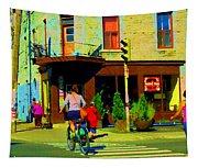 Kusmi Tea And Sandwich Shop St Viateur Corner St Urbain Montreal Summer City Scene  Carole Spandau Tapestry