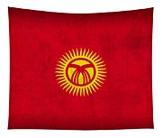 Kyrgyzstan Flag Vintage Distressed Finish Tapestry