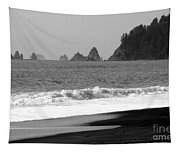 La Push Beach Black And White Tapestry