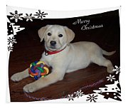 Lab Pup Merry Christmas Tapestry