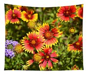 Lady Bird And Her Flowers Tapestry