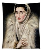 Lady In A Fur Wrap Tapestry