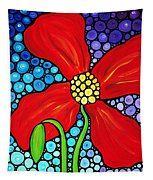 Lady In Red - Poppy Flower Art By Sharon Cummings Tapestry