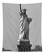 Lady Liberty Black And White Tapestry