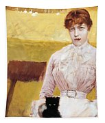 Lady With Black Kitten Tapestry