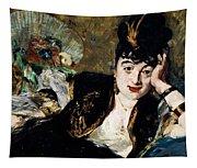 Lady With Fan Portrait Of Marie Anne De Callias Known As Nina De Callias Tapestry