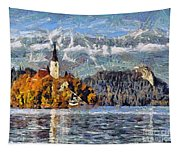 Lake Bled And Mountains Tapestry