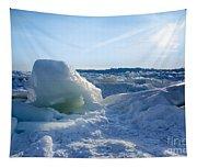 Lake Erie Ice Sunrise Tapestry