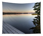 Lake In Autumn Sunrise Reflection Tapestry