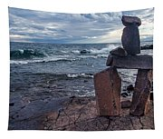 Show Me The Way - Lake Superior Rock Stack Tapestry