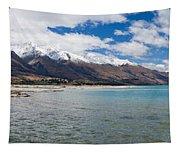 Lake Wakatipu And Snowy New Zealand Mountain Peaks Tapestry