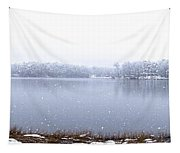 Lakeside In The Winter Snow Tapestry