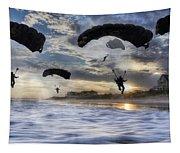 Landing At Sunset Tapestry