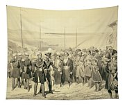 Landing Of A Military Leader Tapestry