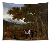 Landscape With Hermit Preaching To Animals Tapestry