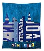 Las Vegas Nevada City Skyline License Plate Art On Wood Tapestry by Design Turnpike