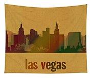 Las Vegas Skyline Watercolor On Parchment Tapestry