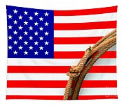 Lasso And American Flag Tapestry