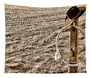 Lasso And Hat On Fence Post Tapestry