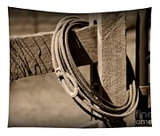 Lasso On Fence Post Rustic Tapestry