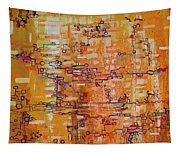 Lattice Animals Abstract Oil Painting By Regina Valluzzi Tapestry
