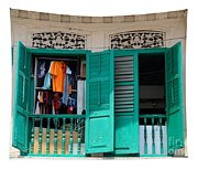 Laundry Hanging Seen Through Open Wood Shutter Windows Singapore Tapestry