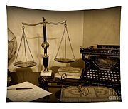 Lawyer - The Lawyer's Desk In Black And White Tapestry