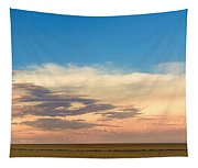 Leading Edge Storm Front And Moon Panorama Tapestry