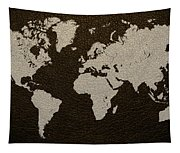 Leather Texture Map Of The World Tapestry