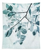 Leaves In Dusty Blue Tapestry