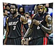 Lebron James And Dwyane Wade Tapestry