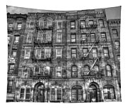 Led Zeppelin Physical Graffiti Building In Black And White Tapestry
