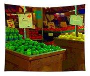 Lemons And Limes Farmers Market Food Stalls Market Vendors Vegetable Food Art Carole Spandau Tapestry