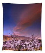 Lenticular Clouds Over Almond Trees Tapestry