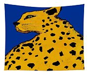 Leopard On Blue Tapestry