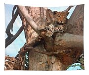 Leopard Up A Tree Tapestry