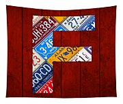 Letter F Alphabet Vintage License Plate Art Tapestry