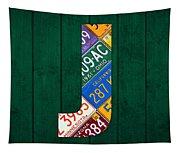 Letter J Alphabet Vintage License Plate Art Tapestry
