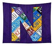 Letter N Alphabet Vintage License Plate Art Tapestry