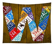 Letter W Alphabet Vintage License Plate Art Tapestry