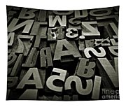 Letters And Numbers Gray Tones Tapestry