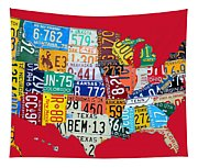 License Plate Map Of The United States On Bright Red Tapestry