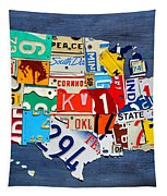 License Plate Map Of The United States - Small On Blue Tapestry by Design Turnpike