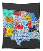 License Plate Map Of The Usa On Gray Tapestry by Design Turnpike