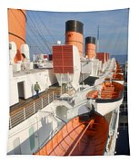 Life Boats 01 Queen Mary Ocean Liner Port Long Beach Ca Tapestry