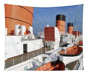 Life Boats 02 Queen Mary Ocean Liner Port Long Beach Ca Tapestry