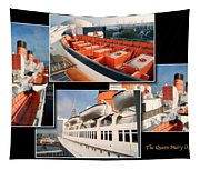 Life Boats Collage Queen Mary Ocean Liner Long Beach Ca Tapestry